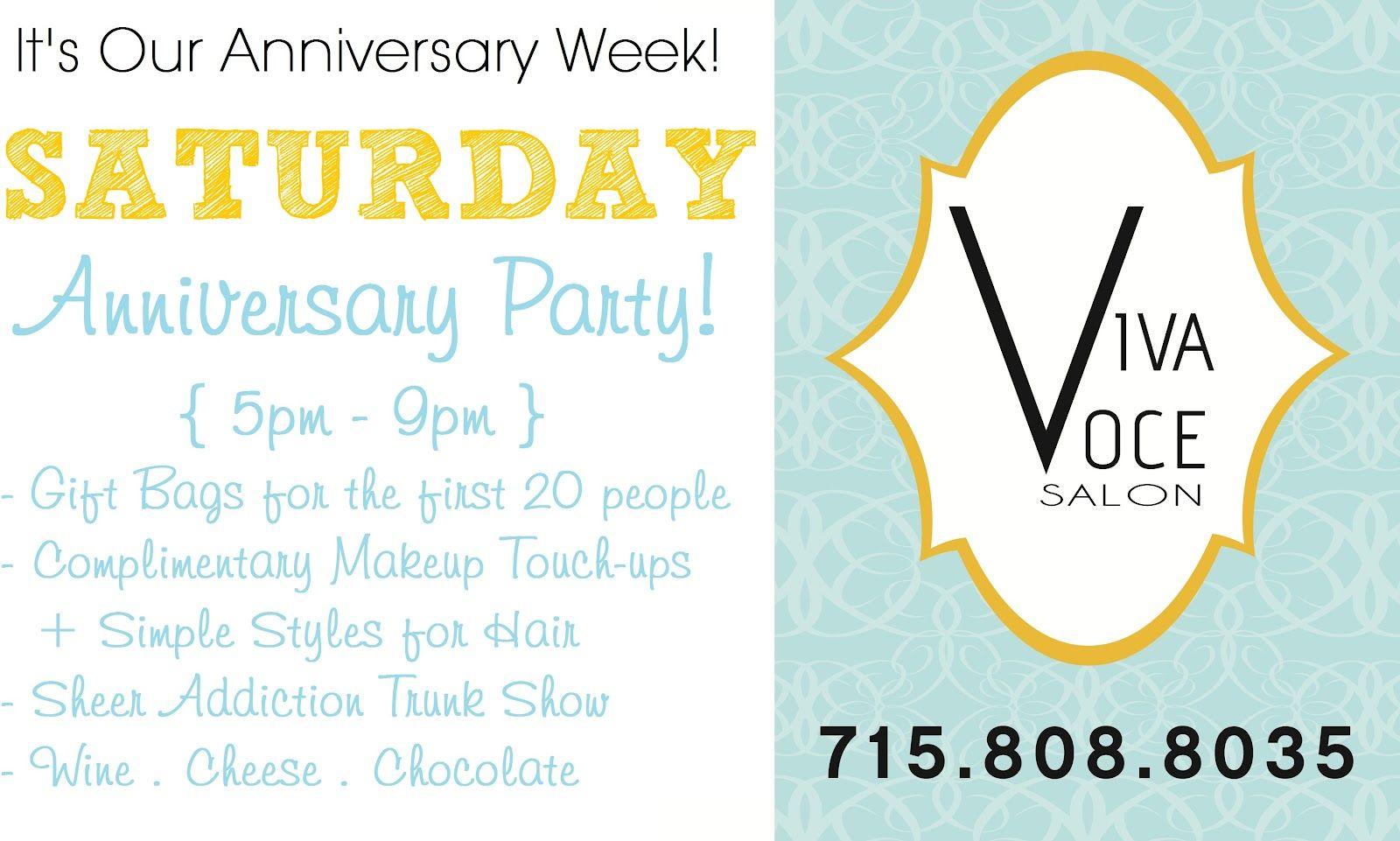 Anniversary PARTY ! Saturday June 17 17pm-17pm Viva Voce Salon