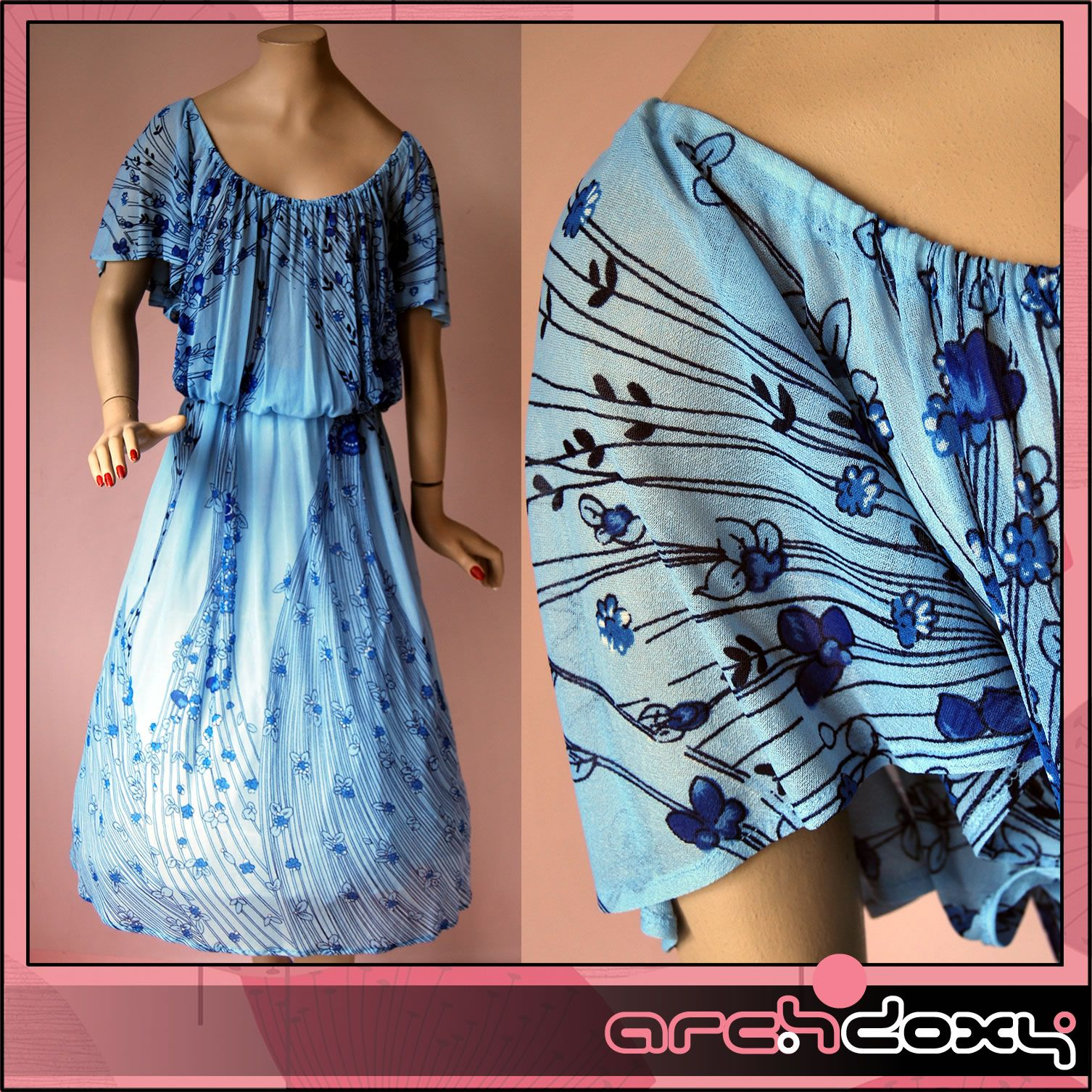 Vintage 1970s Angel Sleeve Art Deco Printed Powder Blue Chiffon Border Dress #vintagedress  http://www.ebay.co.uk/itm/Vintage-1970s-Angel-Sleeve-Art-Deco-Printed-Powder-Blue-Chiffon-Border-Dress-14-/371670861230?ssPageName=STRK:MESE:IT