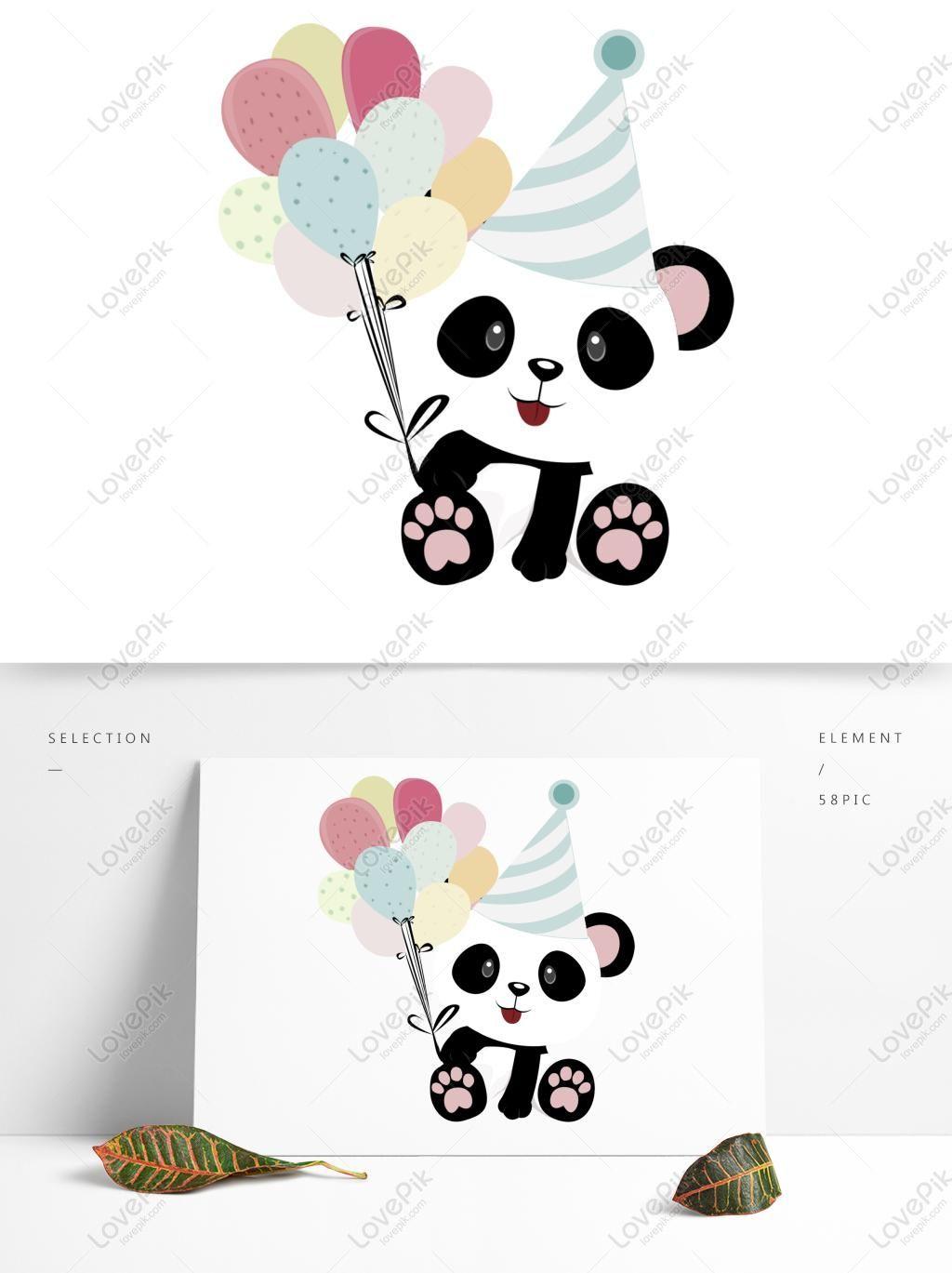 الباندا لطيف لطيف مع عيد ميلاد بالون Cute Animal Drawings Cute Panda Birthday Balloons