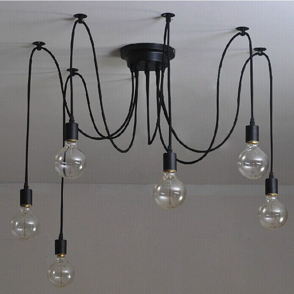 6 t tes vintage industriel edison lampe de plafond lustre multiples r glable pour plafond. Black Bedroom Furniture Sets. Home Design Ideas