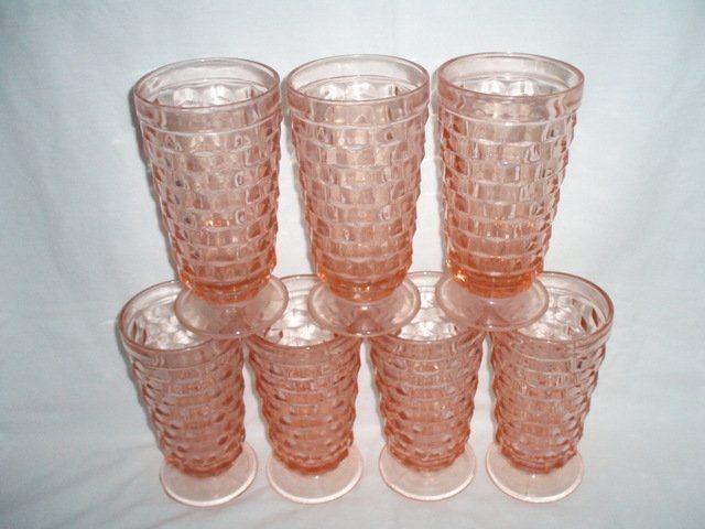 Pink Depression Iced Tea Glasses 7 Fostoria Americana, $66