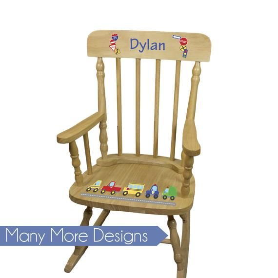 Amazing Boys Personalized Wood Rocking Chair Boy Kids Rockers Machost Co Dining Chair Design Ideas Machostcouk