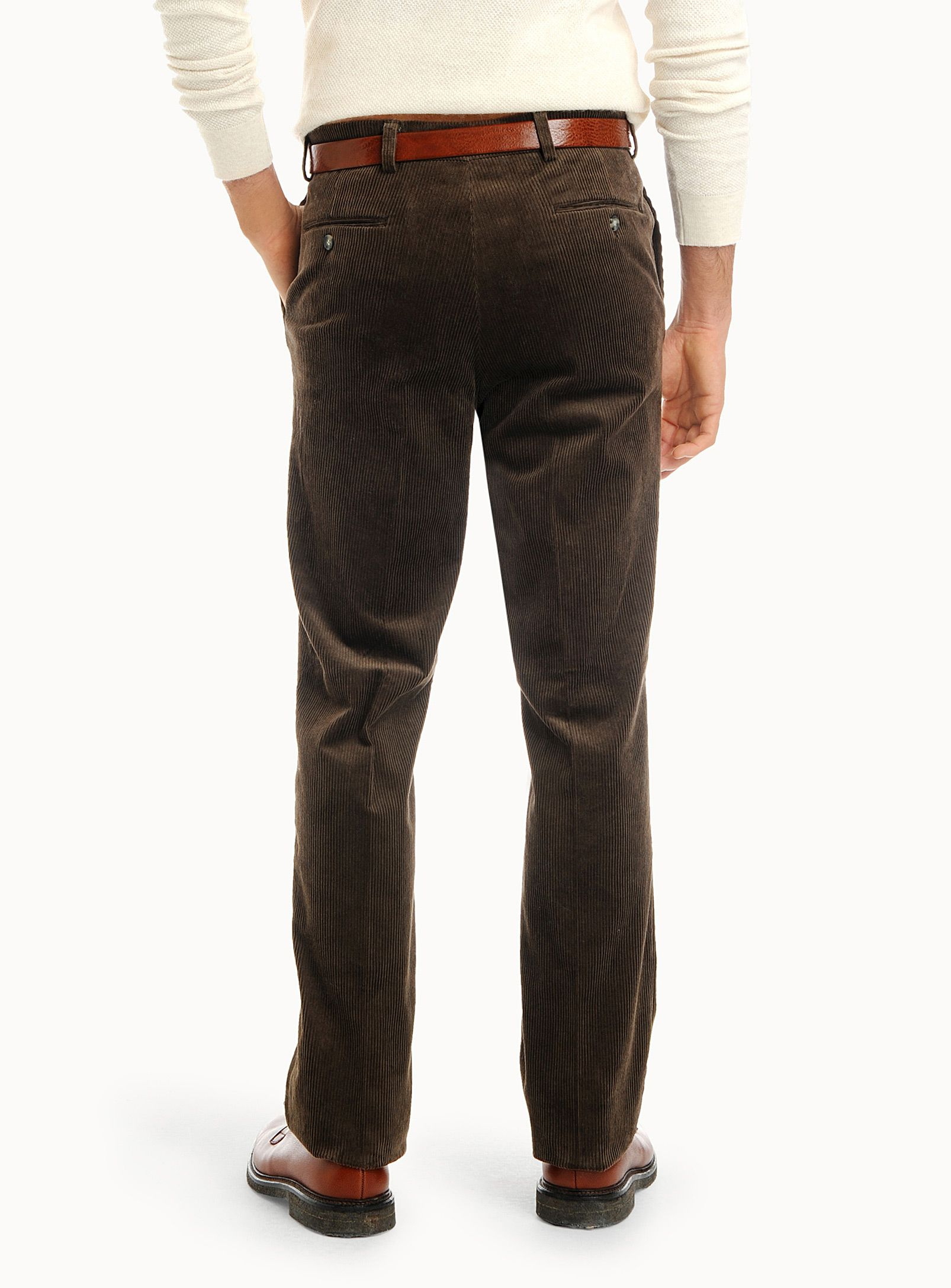 Simons - brown corduroy pants (back) - pantalon en velours côtelé marron