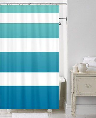 Beach House Chic Shower Curtain Surfer Ombre Stripe Teal Blue