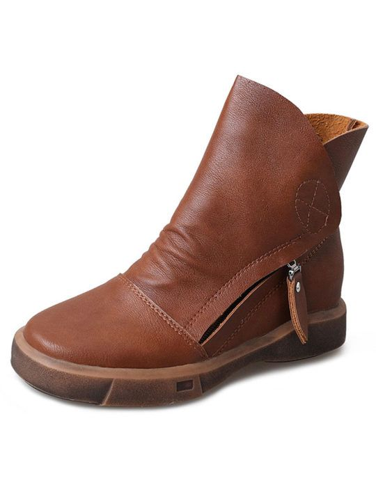 Women/'s Retro Round Toe Faux Leather Ankle Boots Solid Warm Outdoor Flat Shoes