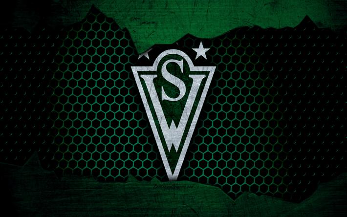 Deportes Pelotas Fondo Grunge: Download Wallpapers Santiago Wanderers, 4k, Logo, Chilean