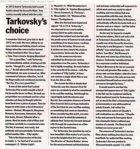 Las películas favoritas de Andrei Tarkovsky.