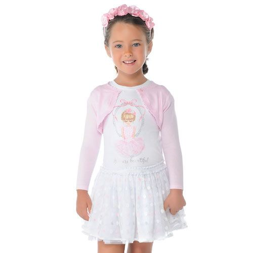 a77436fa002182 Mayoral Girls Ivory T-Shirt with Pale Pink Ballerina | Mayoral ...