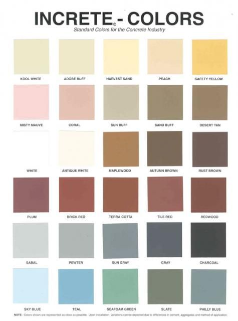 Increte Color Chart Jpg 475 640 Stamped Concrete Colors Concrete Stain Colors Concrete Color