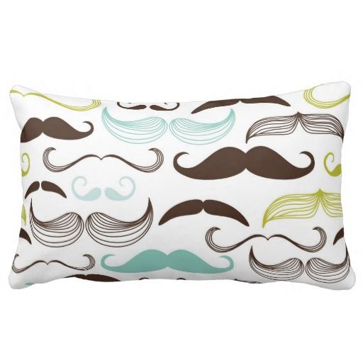 This funky design showcases the coolest stache's in history with a grey background & teal, yellow & brown mustaches.