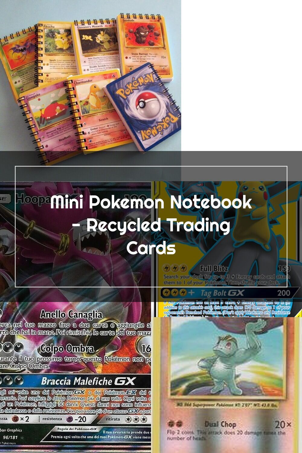 Mini pokemon notebook recycled trading cards etsy in