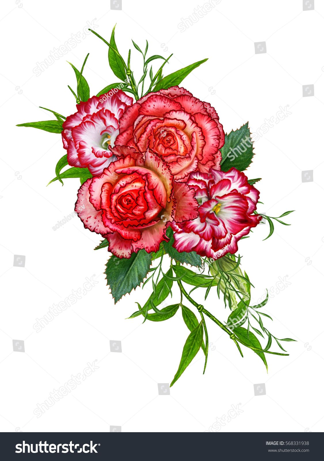 Flower Composition Bouquet Of Red Roses Purple Bright Beautiful