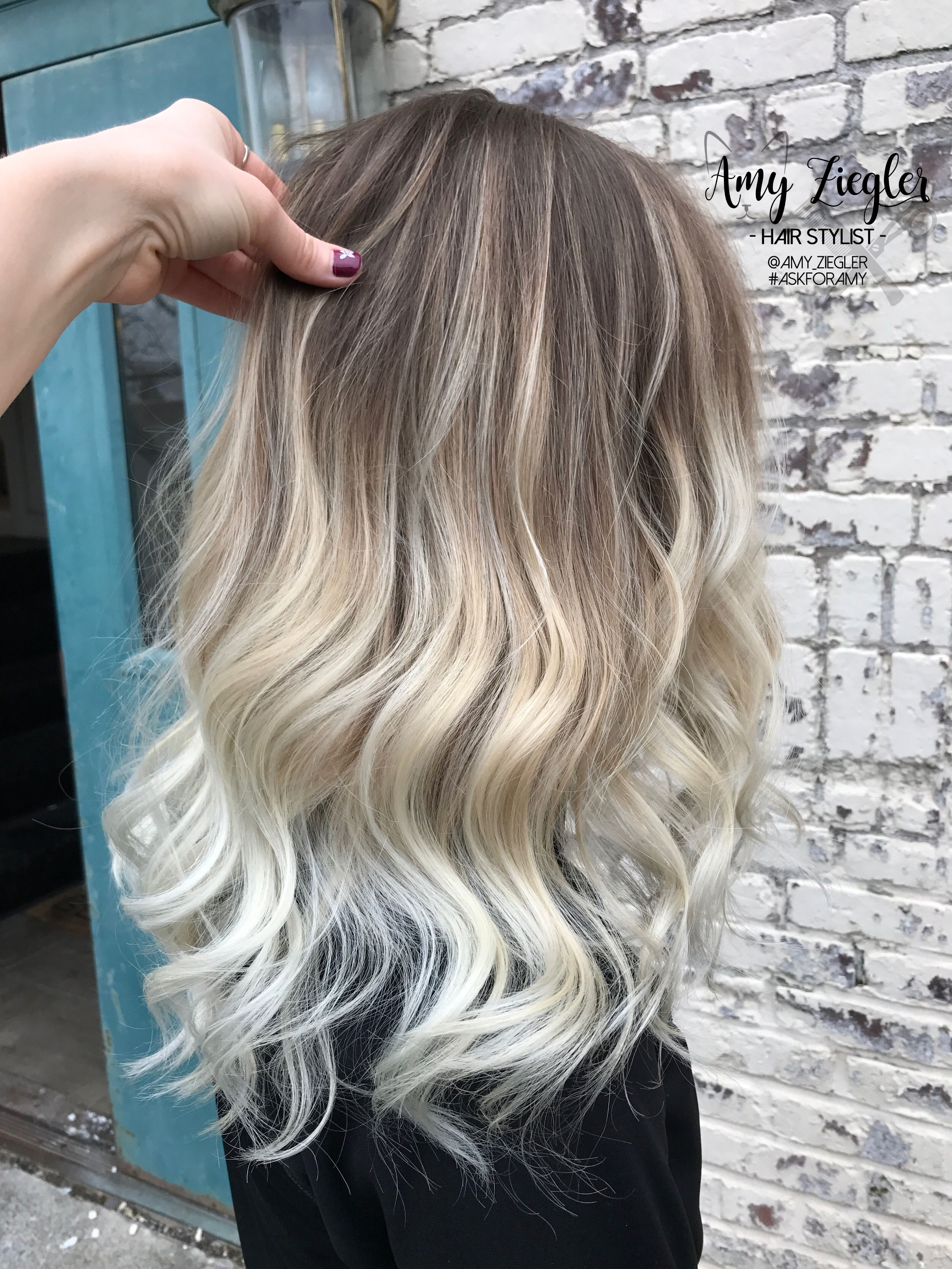 Platinum blonde balayage ombre with natural root by amyziegler