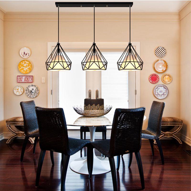 Retro Industrial Style One Combo 3Pcs Led Drop Light Diamond Shape Adorable Pendant Lighting For Dining Room Decorating Inspiration