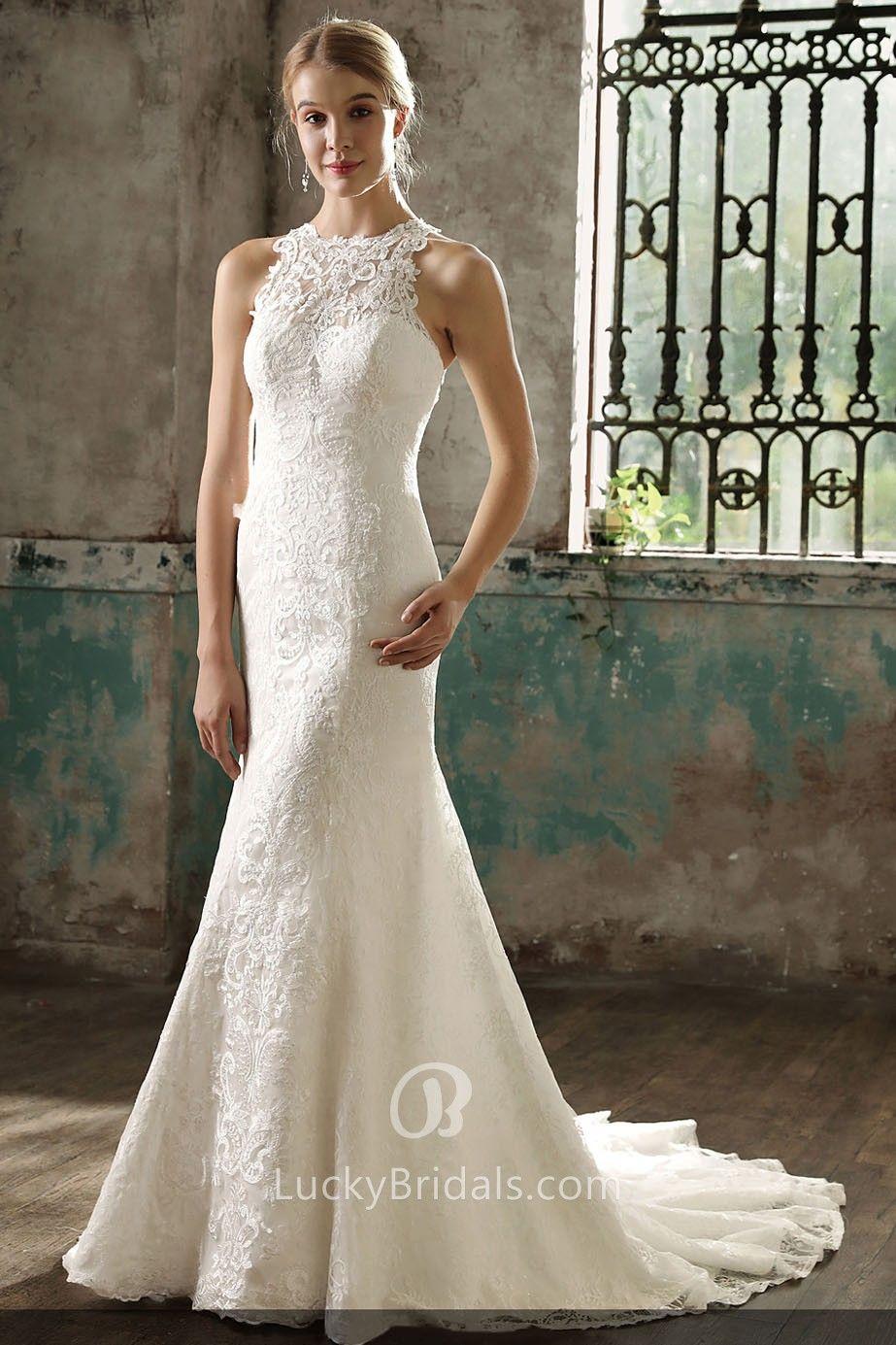 Unique Ivory Lace Halter Mermaid Long Wedding Dress Lace Mermaid Wedding Dress Wedding Dress Train Halter Wedding Dress