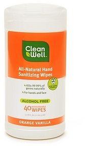 Cleanwell All Natural Hand Sanitizing Wipes Orange Vanilla 4 99