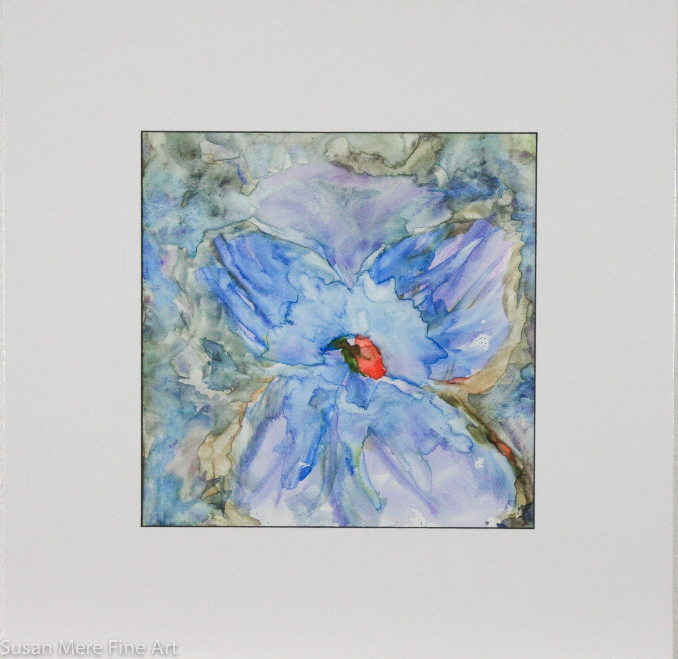 Original Watercolor on Yupo by Susan Marie Fairclough, Red Center, Matted 15X15