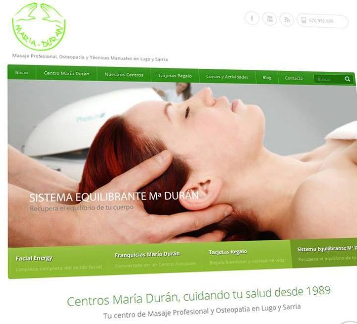Centro Maria Duran Web con tienda online de estos centro de masaje profesional y osteopatía en #Lugo y #Sarria www.mariaduran.net