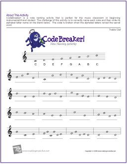 CodeBreaker! | Treble Clef Note Name Worksheet - http ...