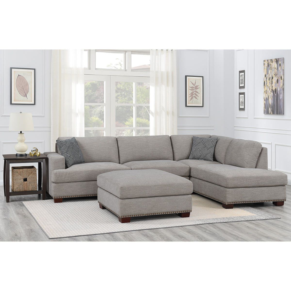 Bainbridge Home Sinclair 3 Piece Grey Fabric Sectional Sofa With Ottoman, Right Facing | Costco UK | Grey Sectional Couch, Fabric Sectional Sofas, Sectional Couch