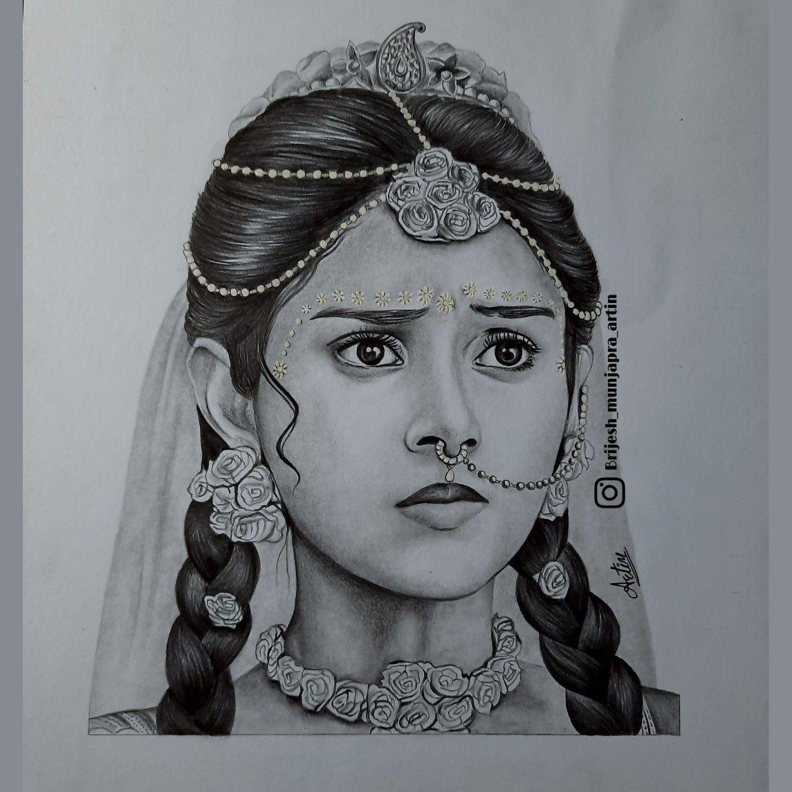 Sketch Of Mallika Singh As Radha Indian Art Gallery Celebrity Sketch School Exhibition