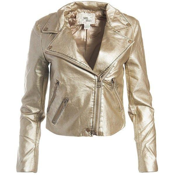Sans Souci Gold Vegan Leather Metallic Moto Jacket Vegan Leather Jacket Fake Leather Jacket Vegan Leather Moto Jacket