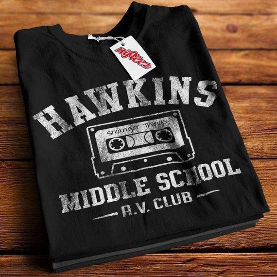 Hawkins Middle School Av Club Black T Shirt Sd1203 Stranger Things