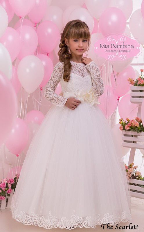 bcd9df5c010 Confirmation Dresses White Lace Long Sleeved First Confirmation ...