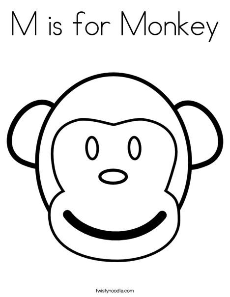 M Is For Monkey Coloring Page Twisty Noodle Monkey Coloring Pages