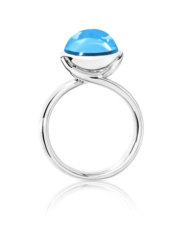 5fb20d164 Tamara Comolli Bouton 11mm Swiss Blue Topaz Cabochon Ring in 18k White  Gold, Size 7/54