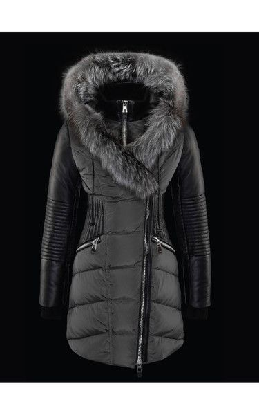 Down Filled Jacket Mid Length Parka Silver Fox and Wine