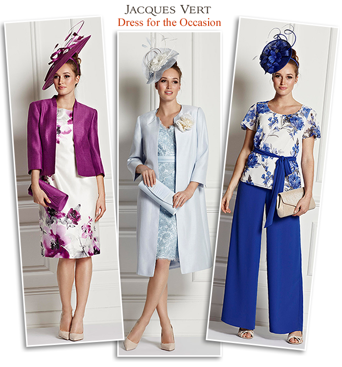 65ab2a7943f Jacques Vert summer wedding and Ascot outfits - purple print shift dress  and jacket blue dress matching frock coat occasion trousers and evening tops