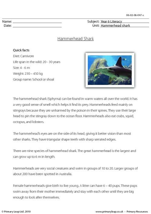 This KS2 reading comprehension includes a passage with some ...