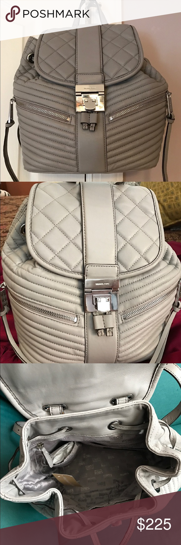 MICHAEL KORS ELISA PEARL GRAY BACKPACK Authentic Michael KORS Elisa fashion backpack is new w/tags. Beautiful ocean pearl gray color, soft leather exterior with nickel silver hardware and 2 zip side pockets. Pull string & flap lock closure. Signature MK print satin fabric interior with 1 zip and 4 additional interior pockets. Clean and smoke free. Michael Kors Bags Backpacks