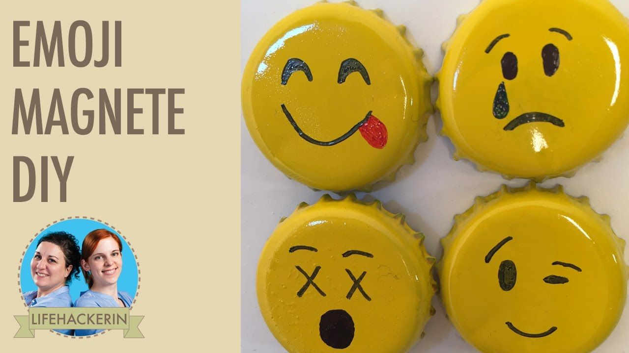 diy emoji magnete aus kronkorken basteln tutorial recycling basteln pinterest. Black Bedroom Furniture Sets. Home Design Ideas