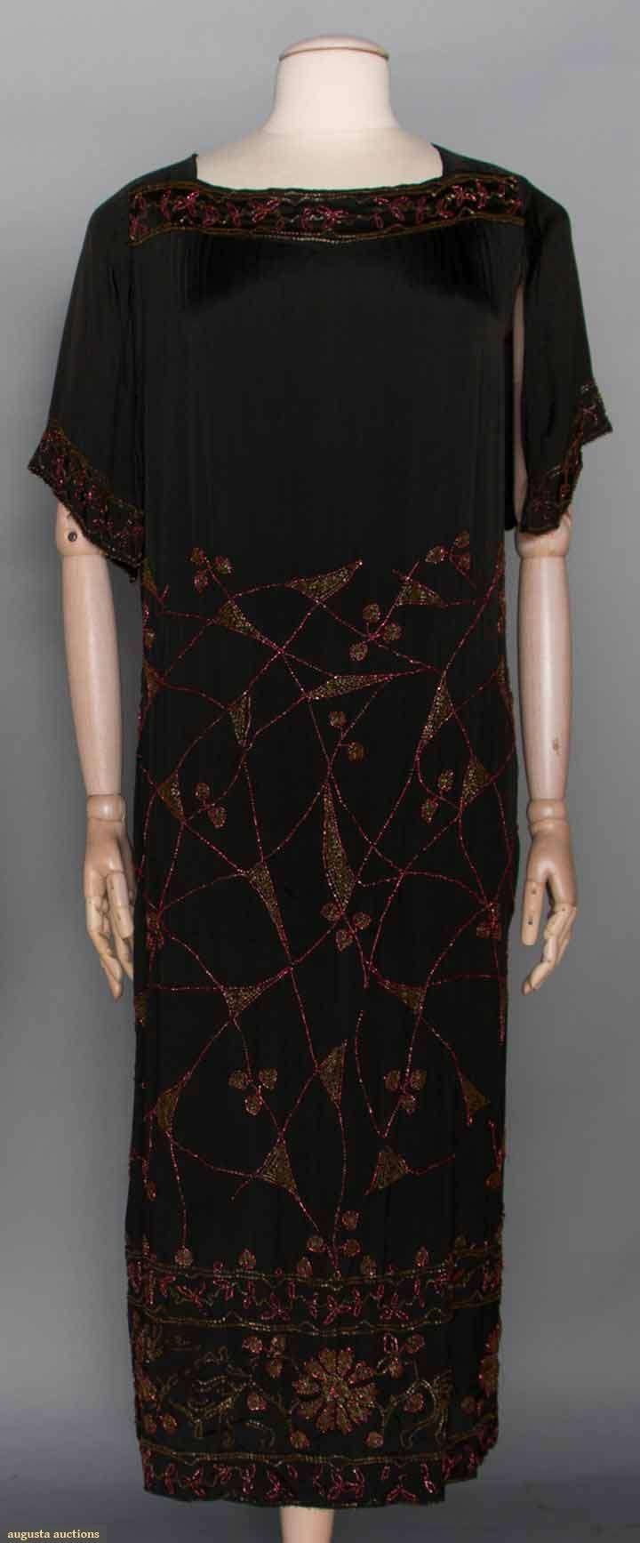 Two silk dresses early s burnt orange velvet cut to navy