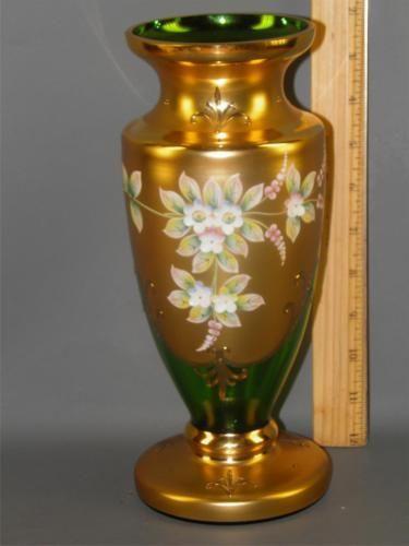 Czech Bohemian Egermann Gold High Enamel Green Crystal Art Glass
