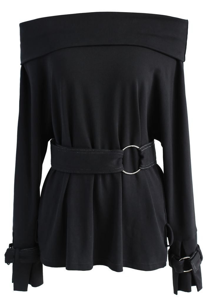 Sassy Mission Off-shoulder Top in Black - New Arrivals - Retro, Indie and Unique Fashion
