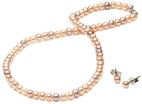 """Multi-Color Freshwater Cultured Pearl Children's Necklace and Earrings Set with Sterling Silver Clasp (4.4.5mm ), 13"""" Amazon Curated Collection. $35.00. Made in China"""