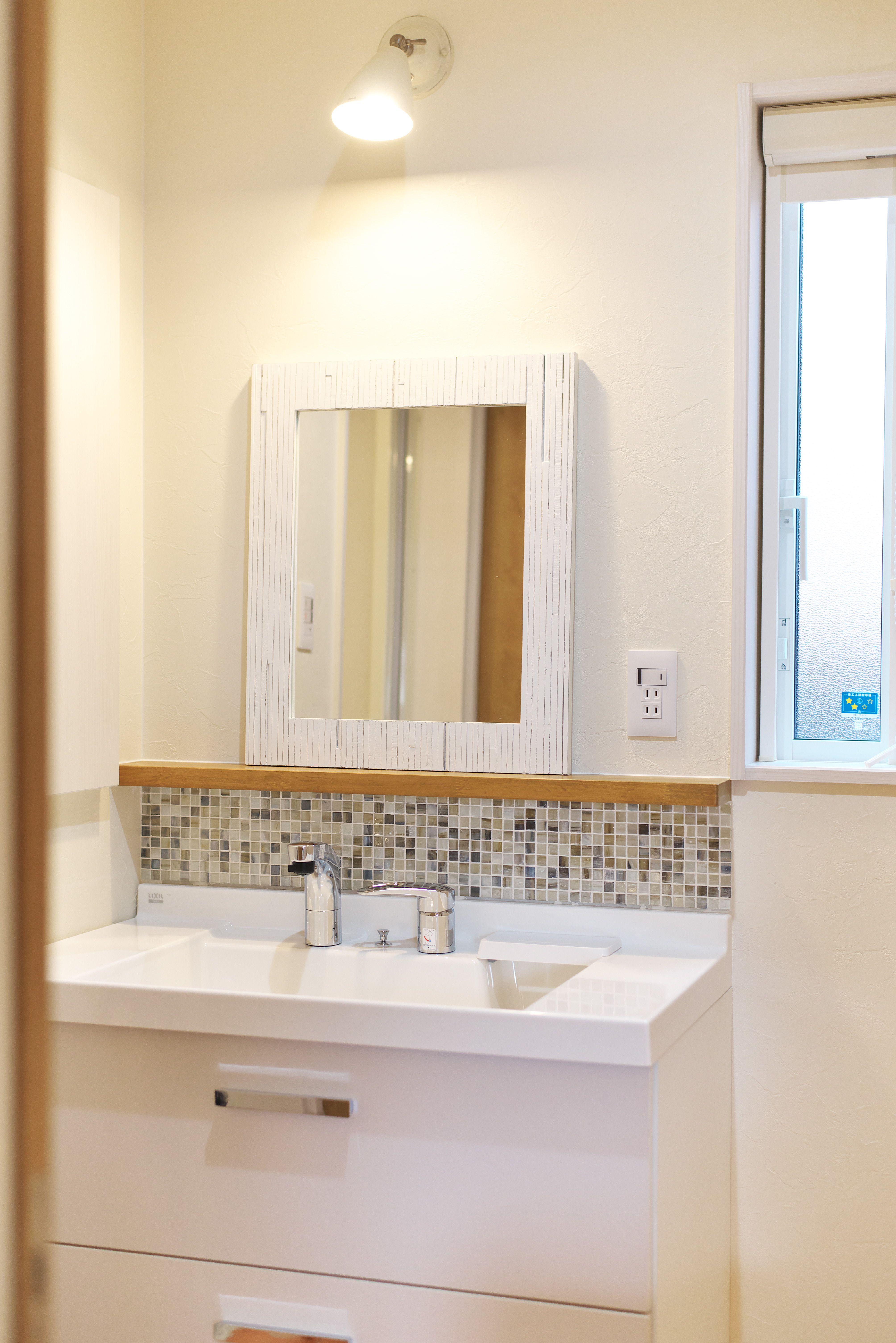 ハーフオーダの洗面台 鏡や照明は好きなものを選んでオリジナル 洗面