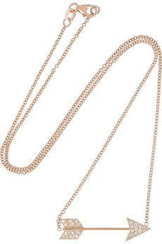 Anita Ko Arrow 18-karat rose gold diamond necklace | NET-A-PORTER