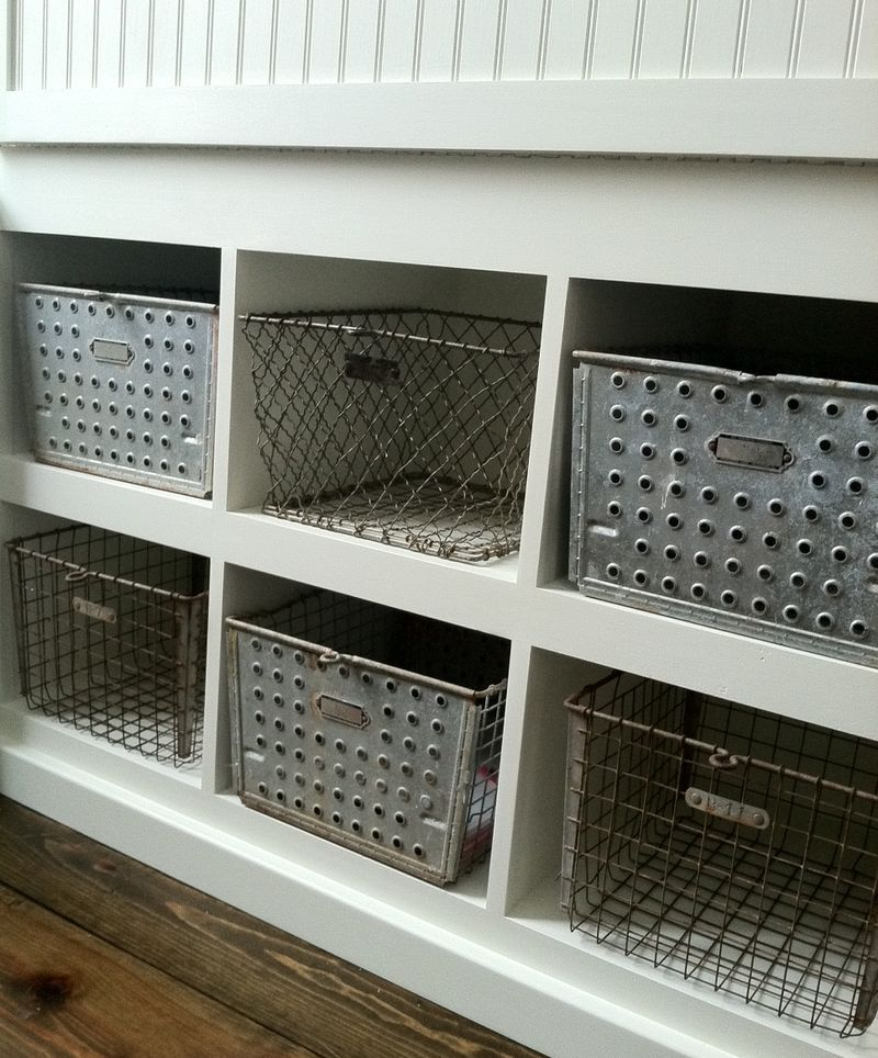 vintage locker baskets for storage of small articles and shoes could be in a garage