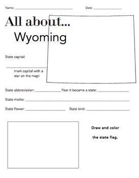 Wyoming States Facts Worksheet: Elementary Version