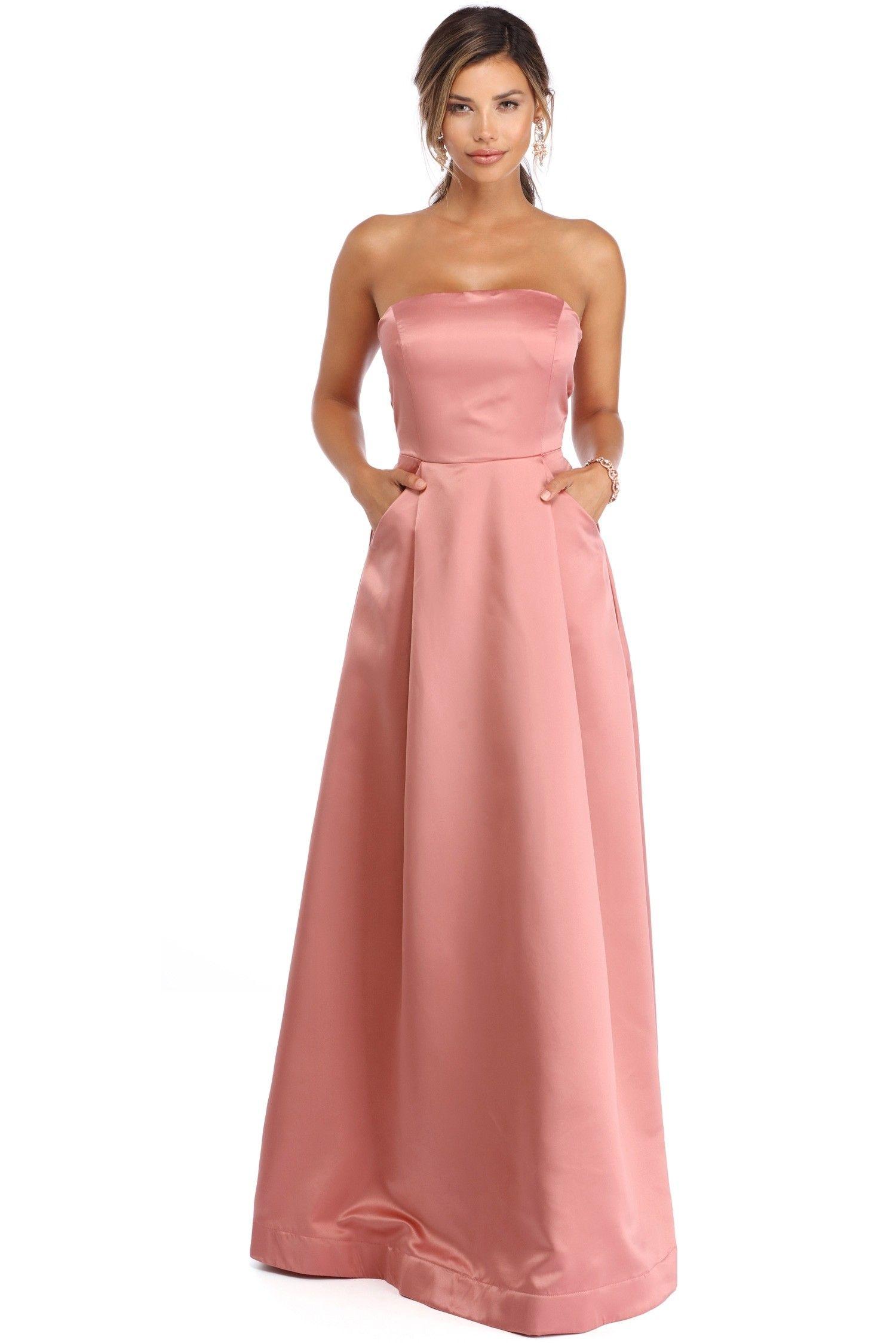 FINAL SALE- Athena Pink Strapless Satin Ballgown