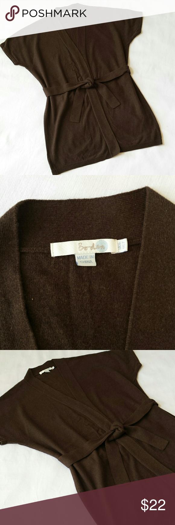 Boden long brown open front cardiac sweater belt | Boden, Open ...