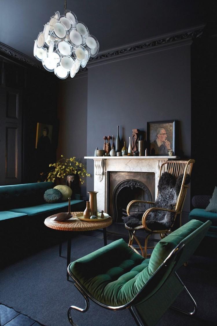 Peinture salon moderne – apprivoisez les couleurs sombres !  Deco