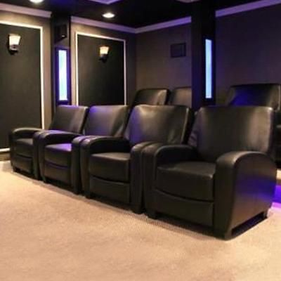 Home Theater Recliner Black Faux Leather Lounge Club Chair Movie
