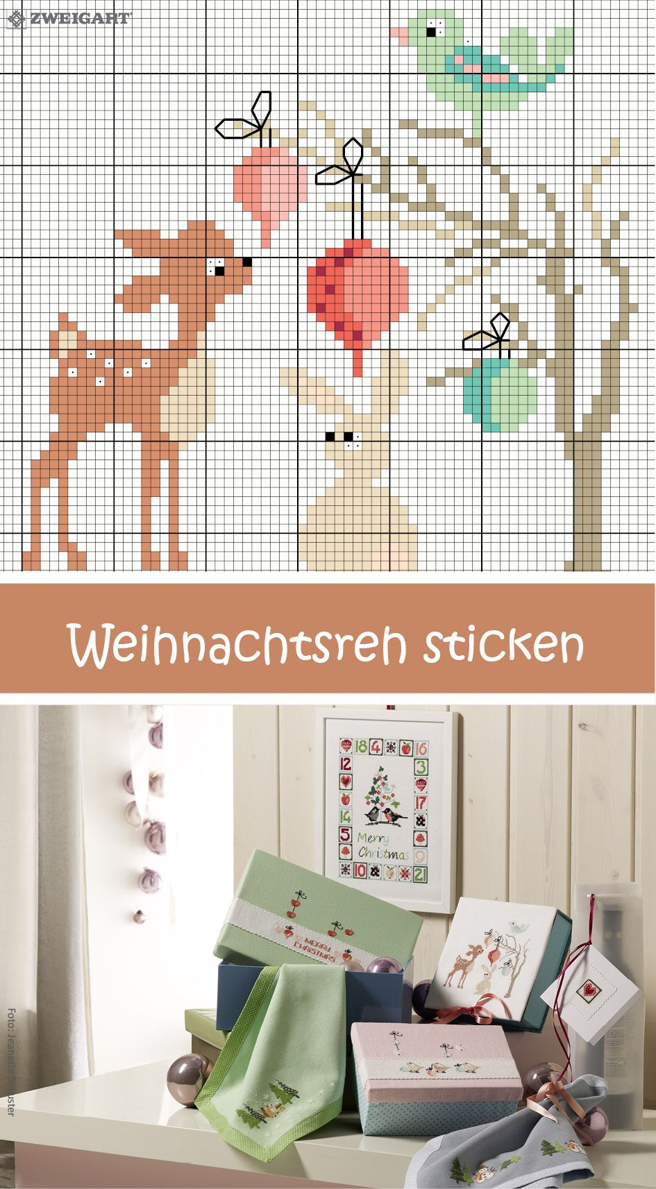 s e weihnachtsdose mit reh sticken sticken kreuzstich. Black Bedroom Furniture Sets. Home Design Ideas