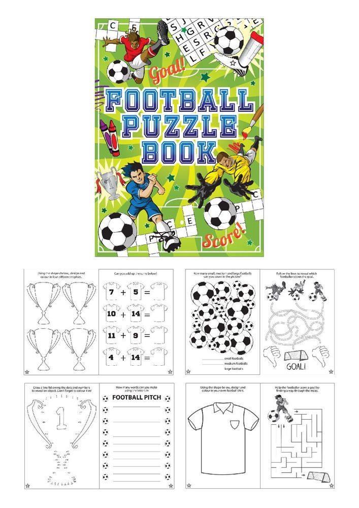 6 football puzzle books a6 size small loot party bag fillers wedding