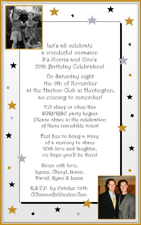 Pin Sample 50th Birthday Party Invitation Wording On Pinterest